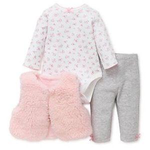 3/$25 NWOT Little Me Sherpa Vest Outfit Set